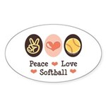 Peace Love Softball Oval Sticker