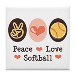 Peace Love Softball Tile Coaster