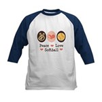 Peace Love Softball Team Kids Baseball Jersey