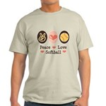 Peace Love Softball Team Light T-Shirt