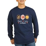 Peace Love Softball Team Long Sleeve Dark T-Shirt