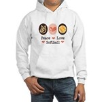 Peace Love Softball Team Hooded Sweatshirt