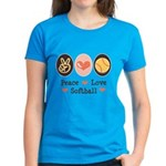 Peace Love Girls Softball Women's Dark T-Shirt