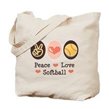 Peace Love Girls Softball Tote Bag