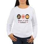 Peace Love Girls Softball Women's Long Sleeve T-Sh