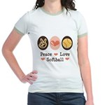 Peace Love Girls Softball Jr. Ringer T-Shirt