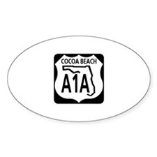A1A Cocoa Beach Oval Decal
