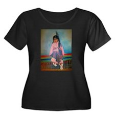 American Indian Girl in Pink T