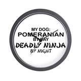 Pomeranian Deadly Ninja Wall Clock