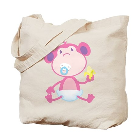 Pink Monkey Pacifier Tote Bag