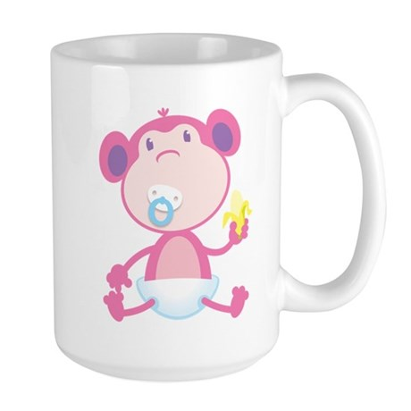 Pink Monkey Pacifier Large Mug