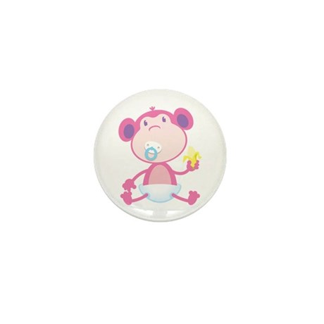 Pink Monkey Pacifier Mini Button