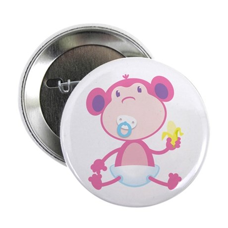 "Pink Monkey Pacifier 2.25"" Button"