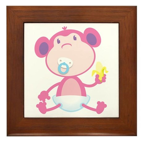 Pink Monkey Pacifier Framed Tile