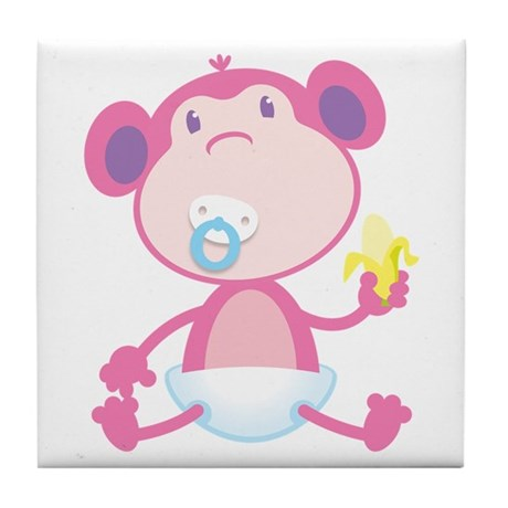 Pink Monkey Pacifier Tile Coaster