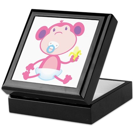 Pink Monkey Pacifier Keepsake Box