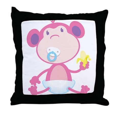 Pink Monkey Pacifier Throw Pillow