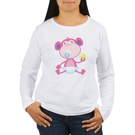 Pink Monkey Pacifier Women's Long Sleeve T-Shirt