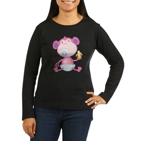 Pink Monkey Pacifier Women's Long Sleeve Dark T-Sh