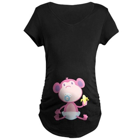 Pink Monkey Pacifier Maternity Dark T-Shirt