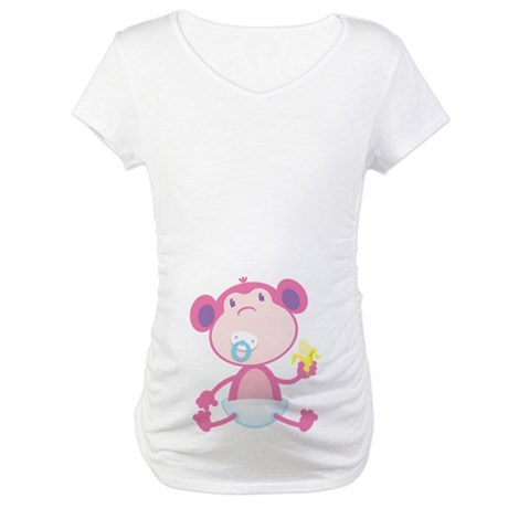 Pink Monkey Pacifier Maternity T-Shirt