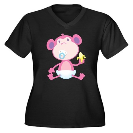 Pink Monkey Pacifier Women's Plus Size V-Neck Dark