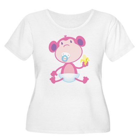 Pink Monkey Pacifier Women's Plus Size Scoop Neck