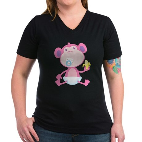 Pink Monkey Pacifier Women's V-Neck Dark T-Shirt