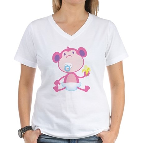 Pink Monkey Pacifier Women's V-Neck T-Shirt