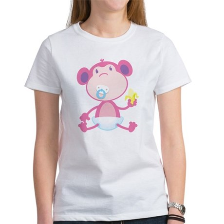 Pink Monkey Pacifier Women's T-Shirt