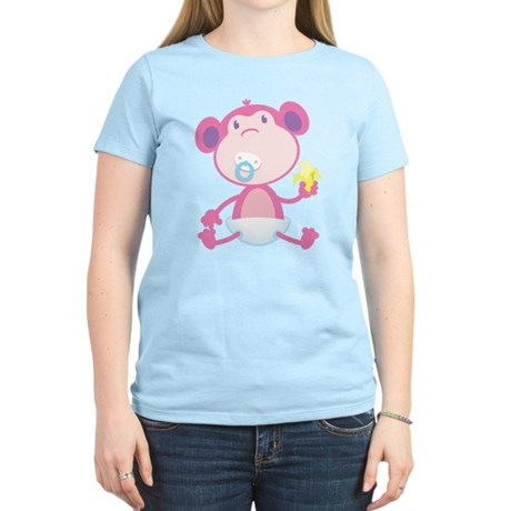 Pink Monkey Pacifier Women's Light T-Shirt