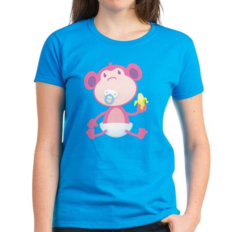 Pink Monkey Pacifier Women's Dark T-Shirt