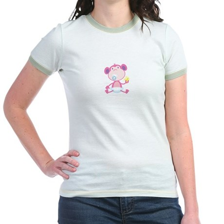 Pink Monkey Pacifier Jr. Ringer T-Shirt