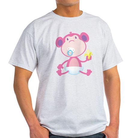 Pink Monkey Pacifier Light T-Shirt