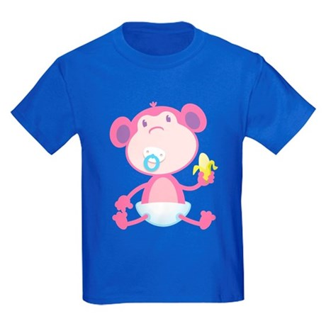 Pink Monkey Pacifier Kids Dark T-Shirt
