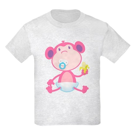 Pink Monkey Pacifier Kids Light T-Shirt