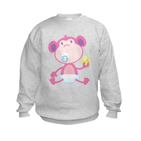 Pink Monkey Pacifier Kids Sweatshirt