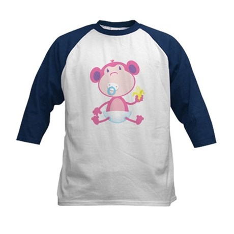 Pink Monkey Pacifier Kids Baseball Jersey