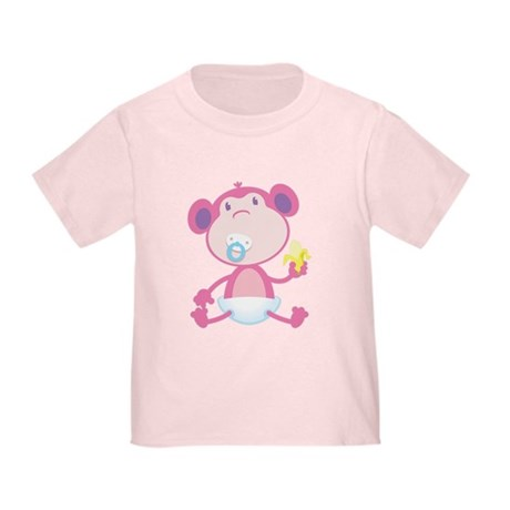 Pink Monkey Pacifier Toddler T-Shirt