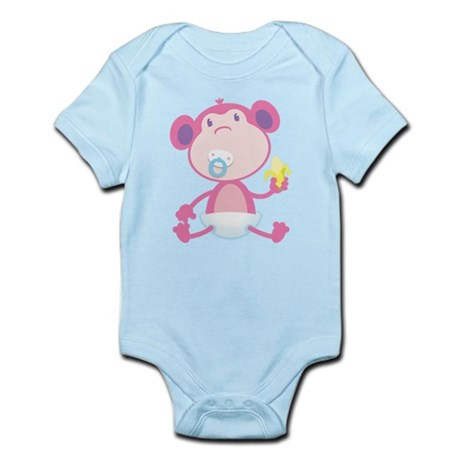 Pink Monkey Pacifier Infant Bodysuit