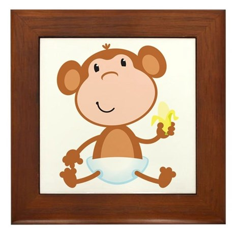 Baby Monkey Framed Tile