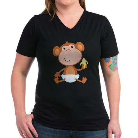 Baby Monkey Women's V-Neck Dark T-Shirt