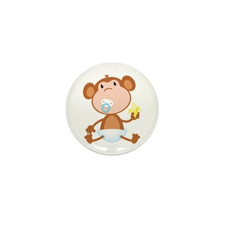 Pacifier Monkey Mini Button