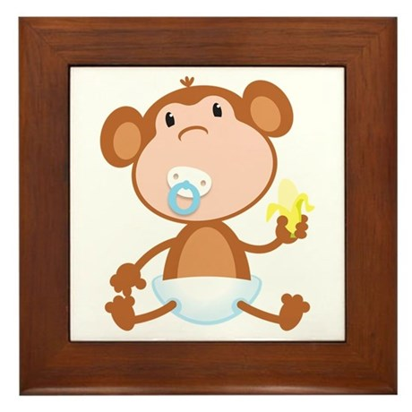Pacifier Monkey Framed Tile