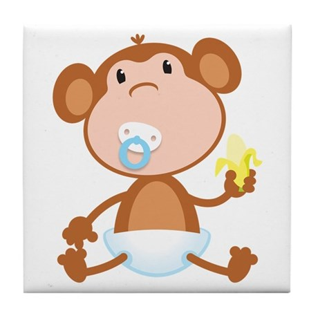 Pacifier Monkey Tile Coaster
