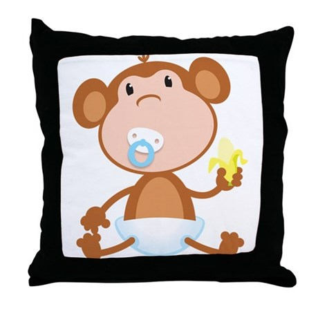 Pacifier Monkey Throw Pillow