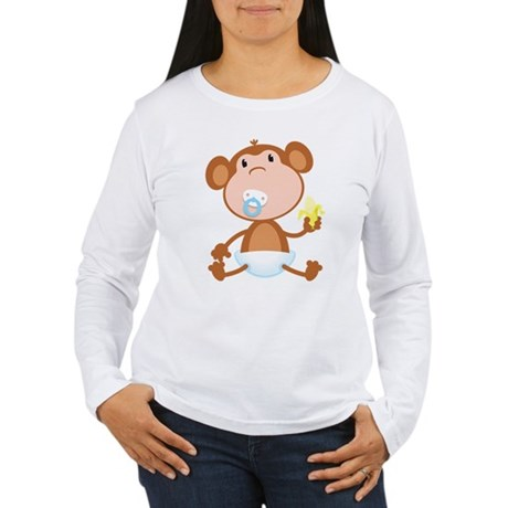 Pacifier Monkey Women's Long Sleeve T-Shirt