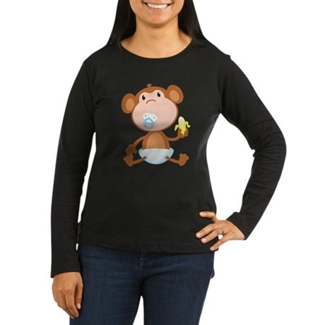 Pacifier Monkey Women's Long Sleeve Dark T-Shirt