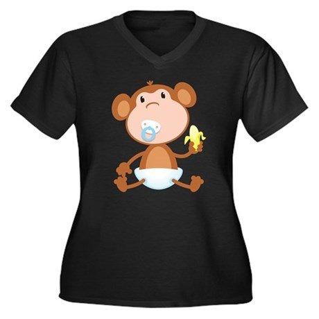 Pacifier Monkey Women's Plus Size V-Neck Dark T-Sh