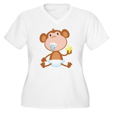 Pacifier Monkey Women's Plus Size V-Neck T-Shirt